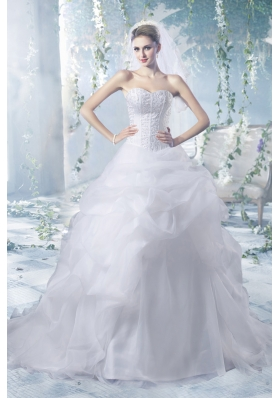 Perfect Puffy Court Train Wedding Dresses with Beading