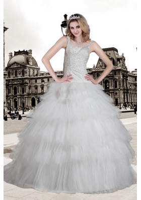 Popular Ball Gown Scoop Brush Train Beading Wedding Dress
