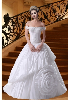 Princess Beading Court Train 2014 Wedding Dresses with Off The Shoulder