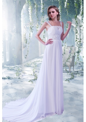 Eelgant Empire Beading Straps Court Train Beach Wedding Dress