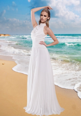 Gorgeous Empire High Neck Wedding Dress with Pleat