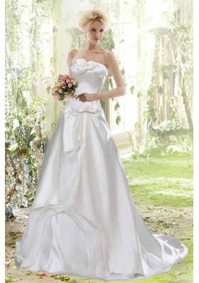 Affordable Princess Strapless Court Train Wedding Dress for 2015