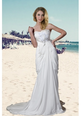 Elegant Column Sweetheart Court Train Wedding Dresses with Beading