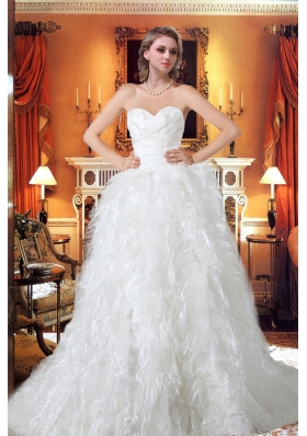 Princess Sweetheart Chapel Train Beading Unique Wedding Dress with Ruffles