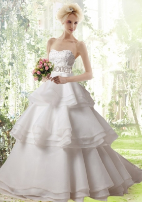 Romantic A Line Brush Train Ruffled Layers and Beading Wedding Dresses with Strapless