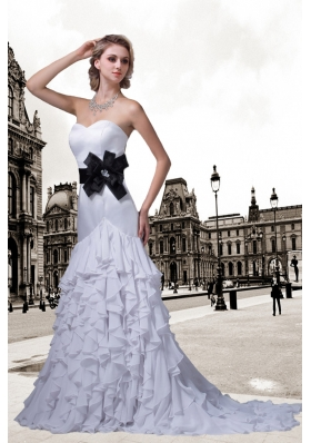 Sturning Mermaid Sweetheart Ruffles Wedding Dress with Brush Train