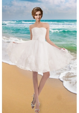 Sweet Strapless Princess Appliques Beach Wedding Dress with Lace