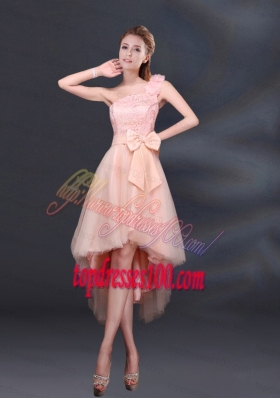 2015 Bowknot High Low Lace Up Bridesmaid Dress with One Shoulder