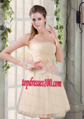 Strapless Appliques 2015 New Bridesmaid Dress in Champagne