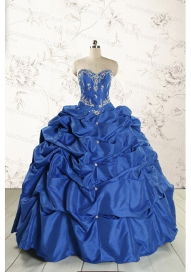 Elegant Beading Quinceanera Dresses in Royal Blue for 2015