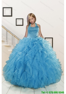 2015 Exclusive Beading and Ruffles Aqua Blue Flower Girl Dress