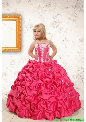 Beautiful Coral Red Little Girl Dress with  Appliques and Pick Ups