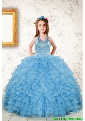 Fashionable Beading and Ruffles Little Girl Dress in Aqua Blue