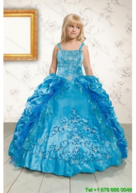 Luxurious Ruffles and Pick Ups Little Girl Pageant Dress in Blue