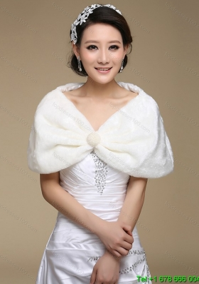 2015 Luxurious Faux Fur Wraps in White