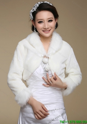 2015 Top Seller Long Sleeves Faux Fur White Wraps