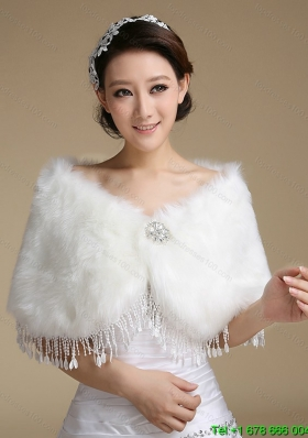 2015 Wonderful Rabbit Fur Shawls with Rhinestone