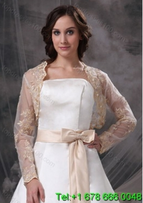 Champane Long Sleeves Jacket With Embroidery