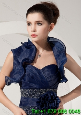 Fold-over Collar Sleeveless Jacket in Navy Blue