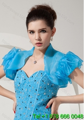 Modest Open Front and Ruffles Quinceanera Jacket in Baby Blue For 2014