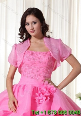The Most Popular Open Front Quinceanera Jacket in Rose Pink For 2014
