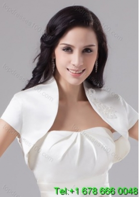 White Taffeta Short Sleeves White Jacket for Wedding Party
