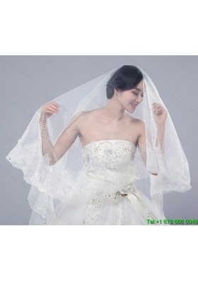2014 One Tier Tulle Lace Drop Veil Edge Bridal Veils