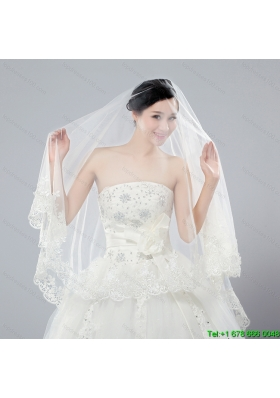 2014 One Tier Tulle Wedding Veils with Scalloped Edge