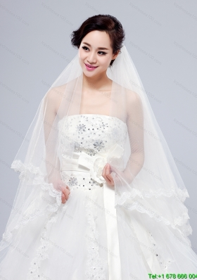 2014 Simple Four Tier Bridal Veils with Lace Appliques Edge