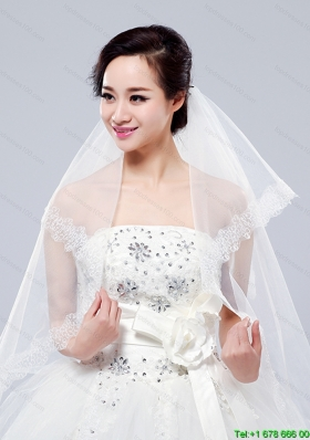 2014 Simple One Tier Bridal Veils with Lace Appliques Edge