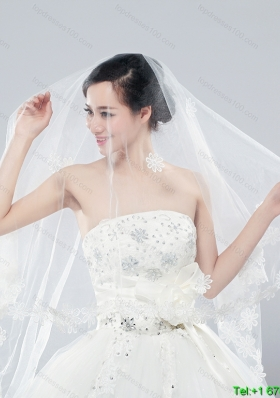 2014 Two Tier Tulle  Elbow Veils with Lace Edge