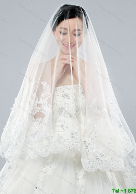 Discount Two Tier Classic Wedding Veils with Lace Edge