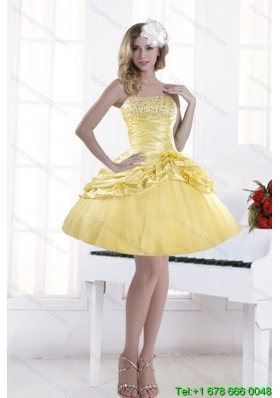 Perfect Beaded Strapless 2015 Prom Dresses with Pick Ups