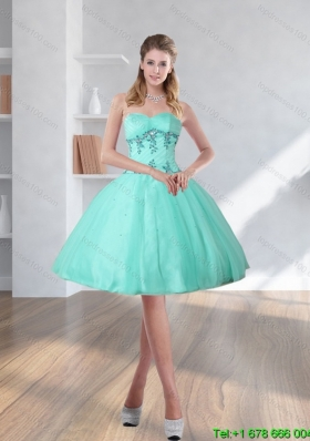 2015 Spring Turquoise Sweetheart Short Prom Dresses with Embroidery
