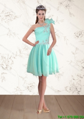 Discount Apple Green One Shoulder Short Prom Dresses with Beading