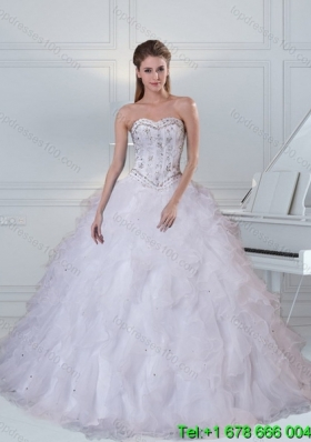 2015 Detachable Sweetheart White Quinceanera Dress with Ruffles and Beading