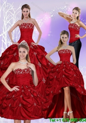 2015 Floor Length Strapless Detachable Quinceanera Skirts with Embroidery and Pick Ups