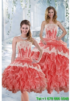 2015 New Style Strapless Appliques and Ruffles Quinceanera Dresses in Watermelon