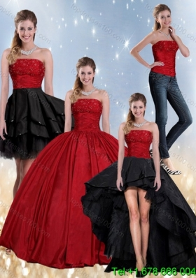 Beaded Strapless Ball Gown 2015 Detachable Quinceanera Skirts in Red and Black