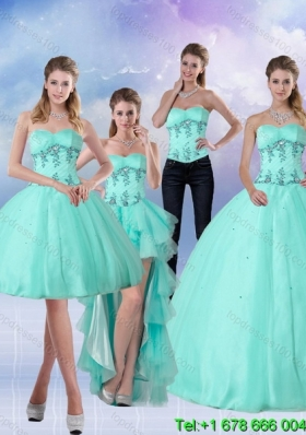 Pretty Apple Green Sweetheart 2015 Quinceanera Dress with Appliques and Beading