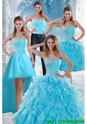 2015 Beautiful Appliques Detachable Quinceanera Skirts with Beading and Ruffles
