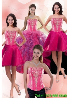 2015 Beautiful Multi Color Detachable Quinceanera Skirts Dresses with Appliques and Ruffles