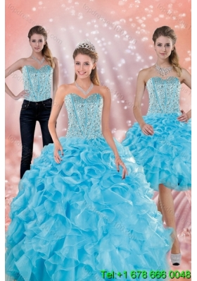 2015 Classical Sweetheart Ruffled Quinceanera Dresses in Baby Blue