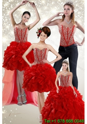 2015 Newest Beading and Ruffles Detachable Quinceanera Skirtsin Red