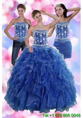 2015 Sophisticated Ruffles and Beading Detachable Quinceanera Skirts in Royal Blue