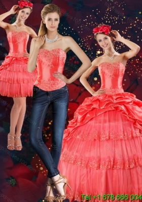 2015 Strapless Detachable Quinceanera Skirts with Pick Ups and Beading
