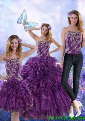Fantastic Purple Strapless Detachable Quinceanera Skirts with Appliques and Ruffles for 2015
