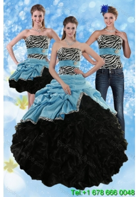 Zebra Print Strapless Multi Color Detachable Quinceanera Skirts with Ruffles and Pick Ups