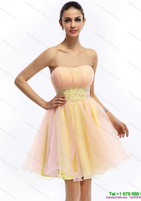 Modest 2015 Beautiful Strapless Multi Color Prom Dress with Beading and Ruching