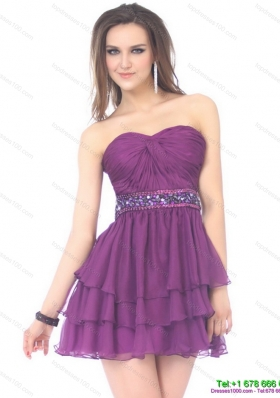Modest 2015 Beautiful Sweetheart Mini Length Prom Dress with Sequins and Ruching
